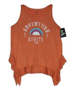 Girls' Ruffle Adventure Awaits Tank Top - Art Class  Coral Gold XL - $6.50