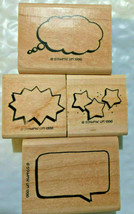 Stampin Up Rubber Lot  Thought Bubbles  Cartoon Dialogue Box   Frame Words Mixed - $16.78