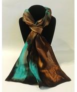 Hand Painted Silk Scarf Jade Green Cognac Chestnut Brown Unique Rectangl... - $56.00
