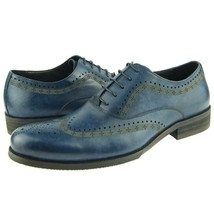 Premium Blue Color Rounded Brogues Toe Leather Fashion Stylish Men Oxford Shoes image 1