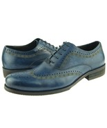 Premium Blue Color Rounded Brogues Toe Leather Fashion Stylish Men Oxford Shoes - $139.90 - $229.99