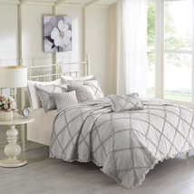 Luxury 6pc Soft Grey Diamond Ruffle Quilted Coverlet AND Decorative Pillows - $142.49+