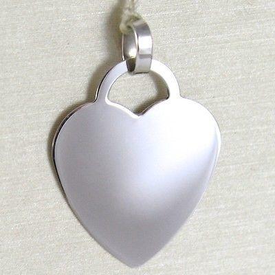 WHITE GOLD PENDANT 750 18K HEART, ENGRAVABLE, LENGTH 2.3 CM, MADE IN ITALY