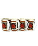 Fitz and Floyd TEA/COFFEE CUP Set of 4 Red, Blue, Gold, White Floral VIN... - $24.26