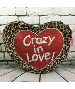 """Valentine Red Heart Shaped """"Crazy in Love"""" Leopard Print Pillow Plush Fa... - $15.14"""