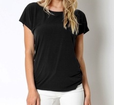Ruched Tops, Womens Black Blouse, Black Top, Black Tops for Women