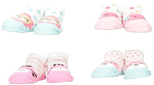Cutie Pie Baby Girls' Newborn Lion Elephant 4 Pack Character Sock, Pink One Size