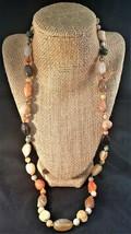 Vintage Multi Stone Necklace Gold Tone Turn Closure - $13.00