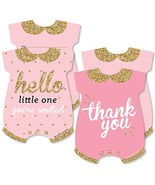 Hello Little One - Pink and Gold - 20 Shaped Fill-In Invitations and 20 ... - $37.77