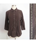 The North Face size LARGE brown stripe print button down blouse top shir... - $19.98
