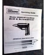 Master Mechanic Model MM8530 Cordless Drill & Screwdriver  manual - $4.00