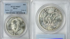 1972 S $1 Silver Ike Eisenhower Dollar PCGS MS67 Beautiful Coin - £52.42 GBP