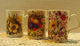 Three Roy Kirkham Bone China Floral Coffee Mugs // Made in England - $16.00