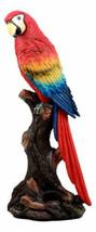 Tropical Rainforest Paradise Bird Scarlet Macaw Parrot Perching On Branc... - $29.99