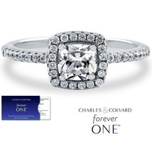 1.00 Carat Cushion Moissanite Forever One Halo Style Ring (Charles & Col... - $359.10