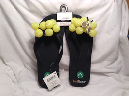 NEW Hot Flops Black Flip Flops w Tennis Decorations Sz 10-11