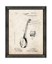 Banjo Patent Print Old Look with Black Wood Frame - $24.95+