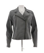 Isaac Mizrahi TRUE DENIM Motorcycle Front Zip Jean Jacket Grey 14 NEW A2... - $26.70