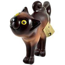 Communidad Winay Ceramic Brown Cat Kitty Kitten Figurine Handmade in Bolivia image 3