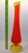 "VINTAGE Fenton Glass Red Orange Yello Amberina Hobnail 9-1/4"" Footed Bud Vase - $17.81"