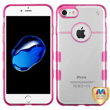 For APPLE iPhone 8/7 Glassy Transparent Clear/Hot Pink Gummy Cover Case - $11.07