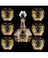 Top High-End Luxurious Gold Inlaid Crystal Whiskey/Wine Decanter Bar Set ! - $529.99