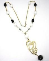 Collar Plata 925 , Amarillo, Ónix, Ágata Blanca, Corazón Doble, Colgante image 2