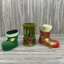 Vintage Christmas Boot Ornaments Candy Containers Decorations Lot of 3 - $19.99