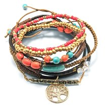 Inspired Silver Turquoise & Coral Brown Leather Tree Of Life Charm Styli... - $29.35