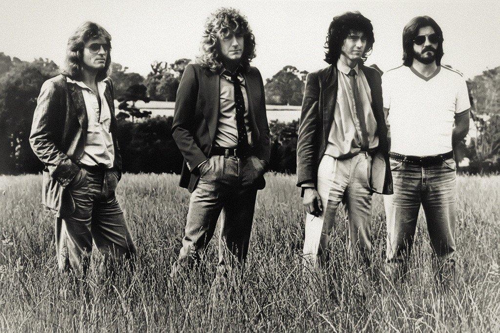 Led zeppelin poster standing in field my hot bw