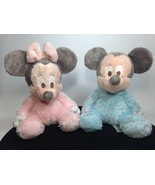 Mickey Minnie Mouse Disney Plush Pastel Pink Blue Chimes Baby Toy Stuffe... - $29.99
