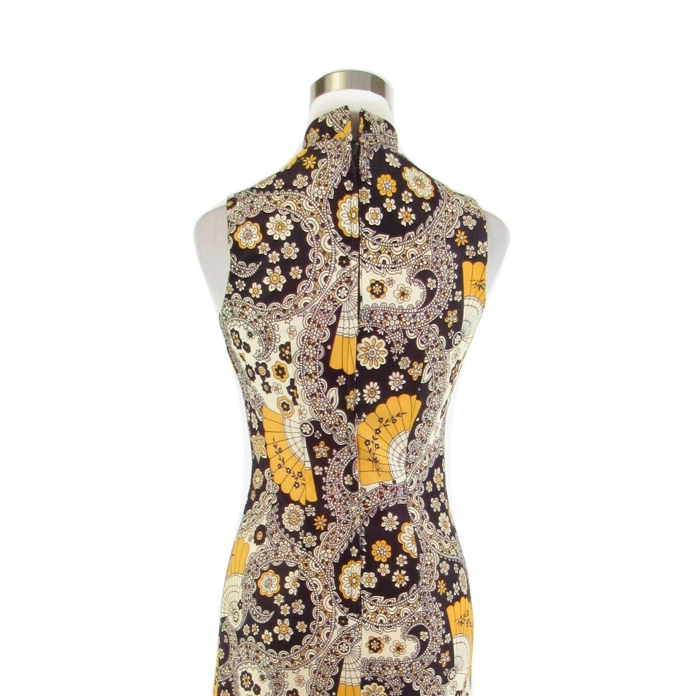 Midnight blue yellow paisley sleeveless vintage maxi dress S image 8