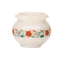 "3""x3.5'' White Marble Flower Pot Malachite Hakik Inlay Marquetry Home Decor Gift - $151.03"