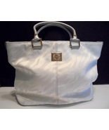 Anne Klein Perfect Tote Collection Large White Animal Embossed Fabric Purse - $8.00