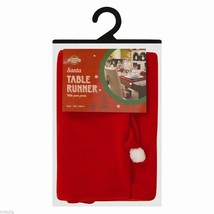 Red Santa Table Runner with pom poms 188cm x 36cm - $9.28