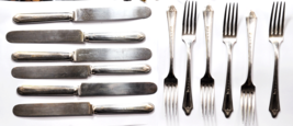 """Silver Plated Oneida Duchess 6 Dinner 7-1/2"""" Forks & 9-1/4"""" Knives 12 Pi... - $19.79"""