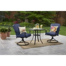 Blue Outdoor Bistro Set Patio Garden Yard Backyard Furniture Steel 3 Pc ... - $249.99