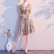 Knee Length Gold Sequin Dress Half Sleeve Sequin Gold Dress Wedding Guest Dress image 1