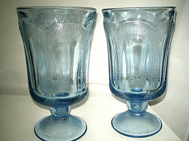 "Fostoria WOODLAND BLUE Ice Tea Glass 6 3/4"" Blue Glass 2-pcs Excellent - $22.99"