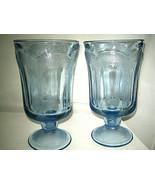 "Fostoria WOODLAND BLUE Ice Tea Glass 6 3/4"" Blue Glass 2-pcs Excellent - $22.99"