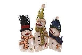 Folding Wood Antique Snowmen Screen Happy Christmas Winter Christmas Dec... - $21.46