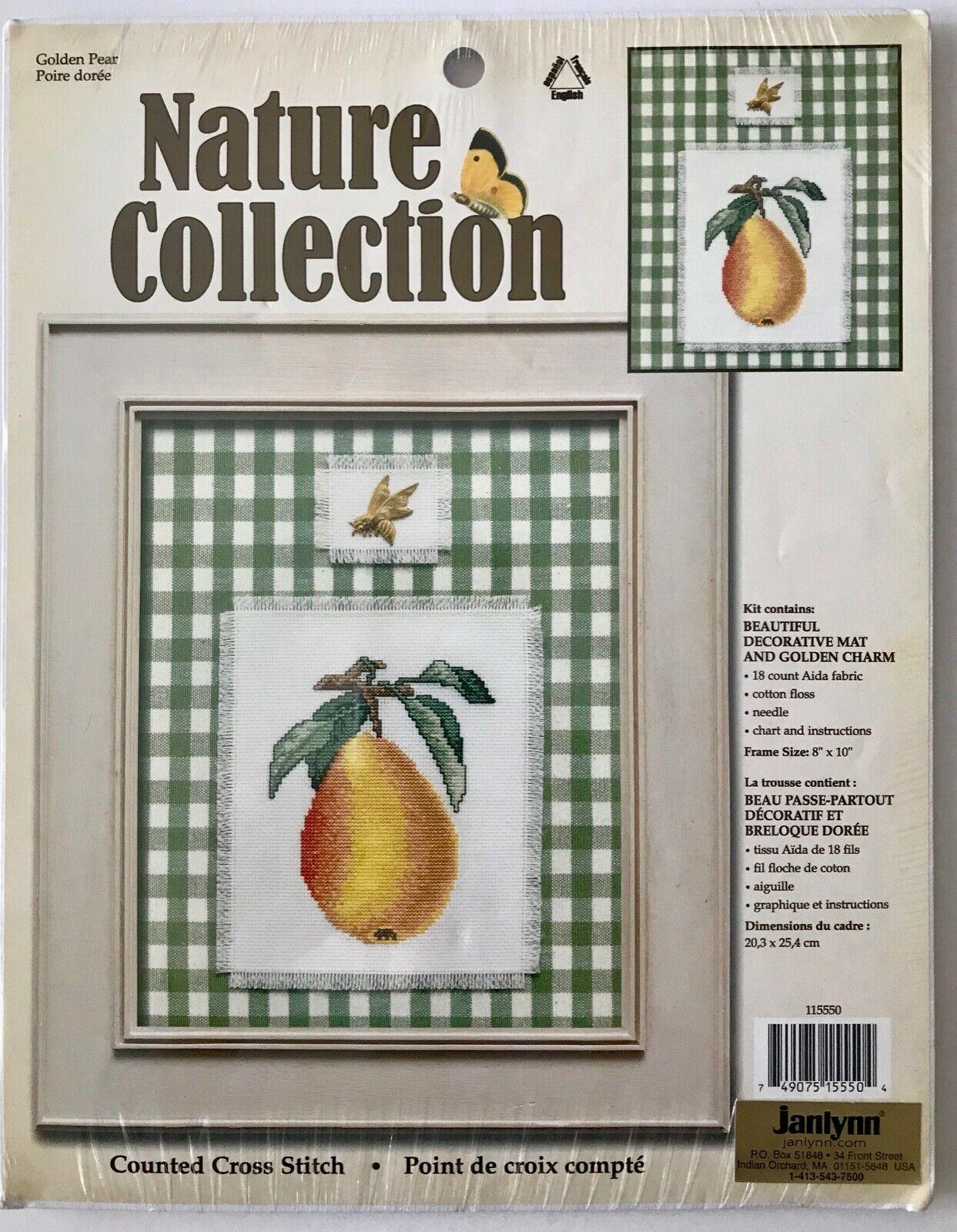 Janlynn Golden Pear Counted Cross Stitch Kit 115550 + Golden Bee Charm 2002 NIP