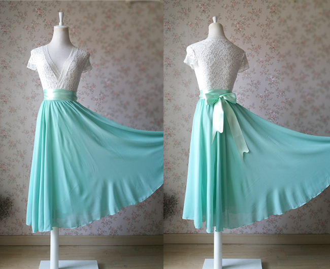 MINT GREEN Full Circle Long Chiffon Skirt Plus Size Mint Wedding Chiffon Skirt