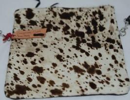 Cheyanne Medium Crossbody Clutch Cowhide Cream Tan Dark Brown Cow Print image 2