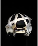 Sterling silver men's ring Anarchy Punk symbol UK with Black enamel high... - $90.00