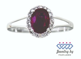 Ruby Birthstone 14K White Gold 0.61CT Real Natural Halo Diamond Ring - $241.37