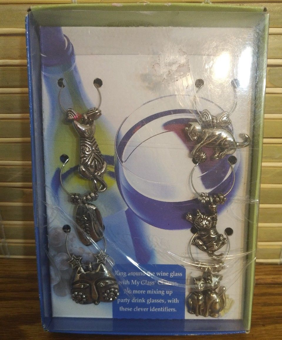6 piece Epic My Glass Charms Wine Marker  Silver Around the World - $4.89
