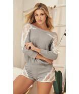 Mapale Grey & Sheer Lace Long Sleeve Romper Pajama Lounge Sleepwear 7258 - $38.99