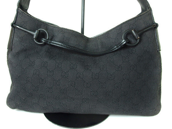 Authentic GUCCI GG Pattern Canvas Leather Dark Gray Shoulder Bag GS11915L