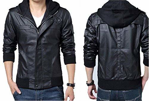 Men's detachable Slim fit Black Marble Faux Leather Moto Hooded Bomber Jacket